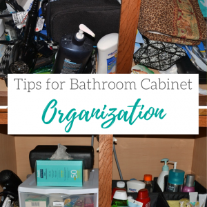 Bathroom cabinet organization before and after