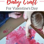 Toddler painting to create a Valentine's day piece of artwork