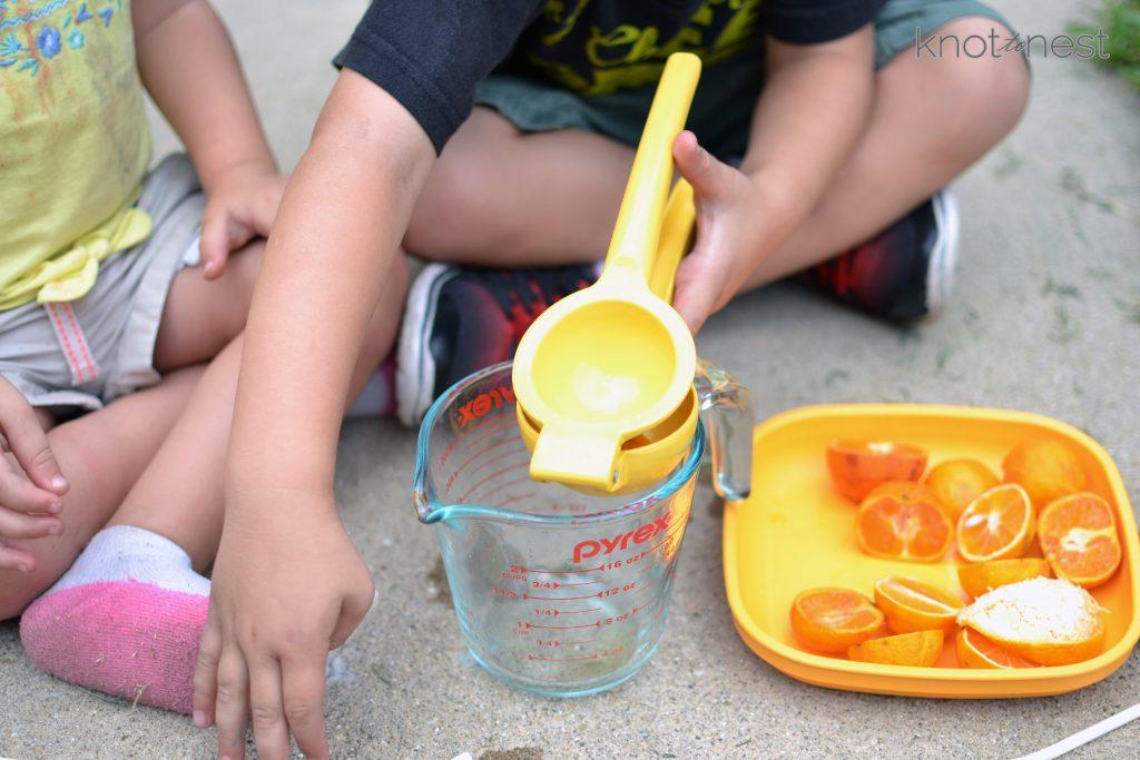 Making orange juice with kids
