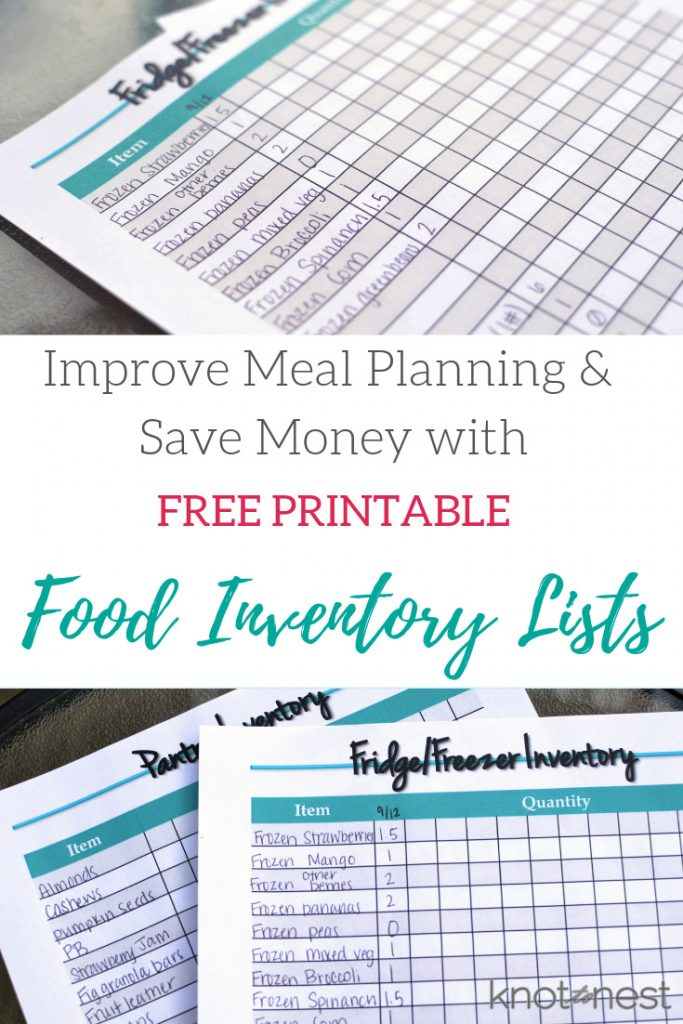 Free meal planning printable. Simplify meal planning. Easier meal planning with this great printable. Food inventory.