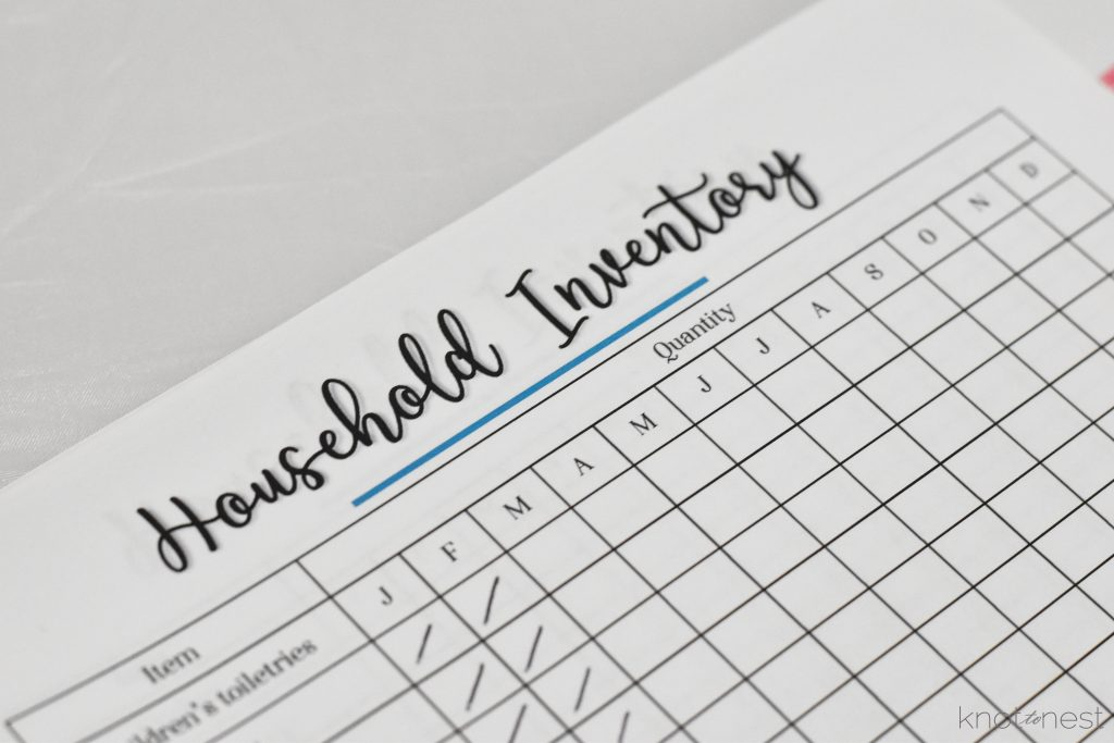 household supply inventory sheets