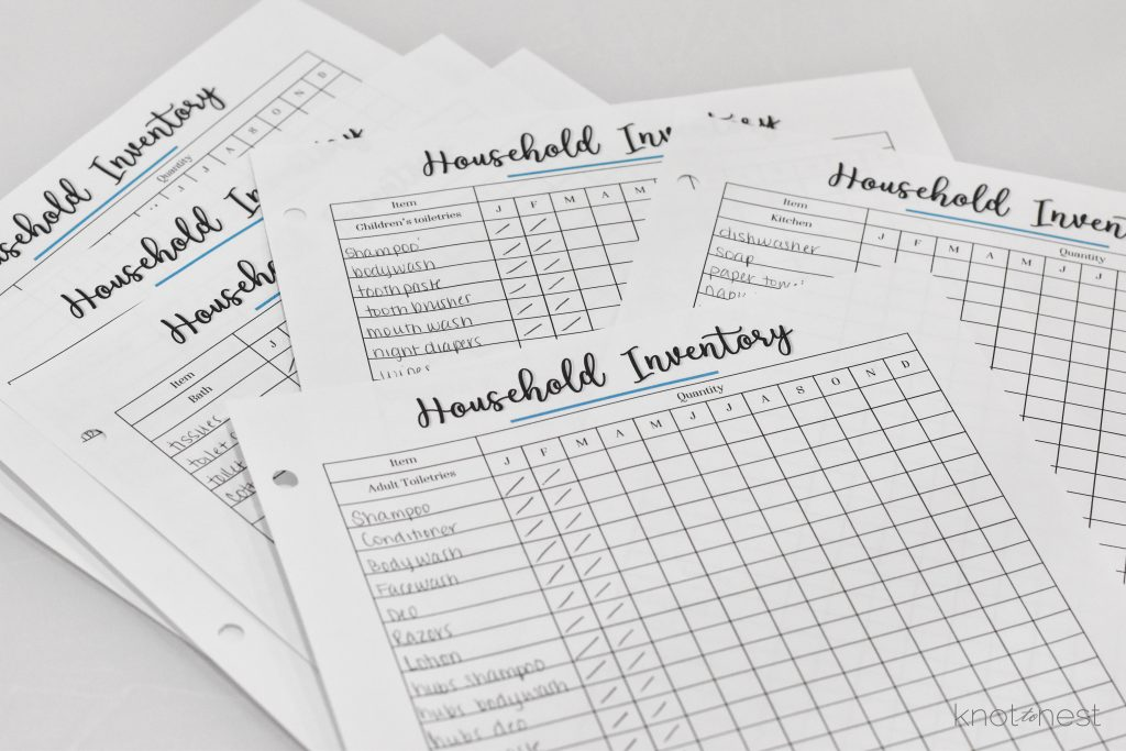 Household inventory sheets