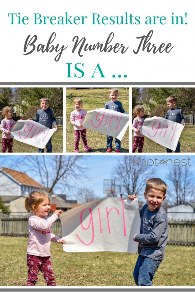 Baby number three gender reveal idea