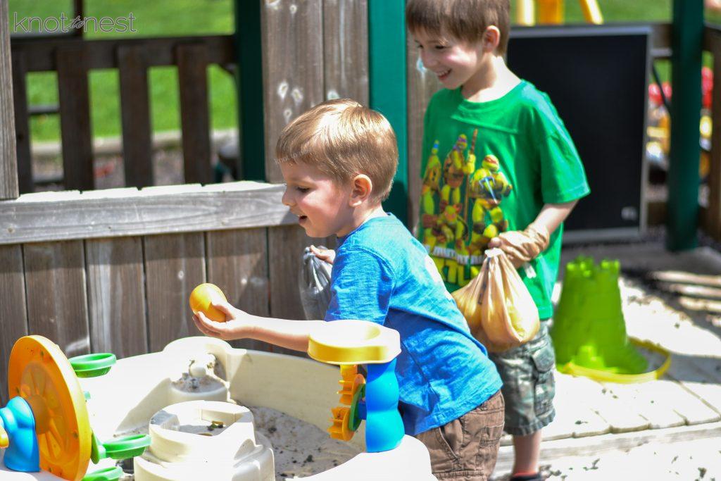 Dinosaur egg hunt activity. Dinosaur birthday fun.