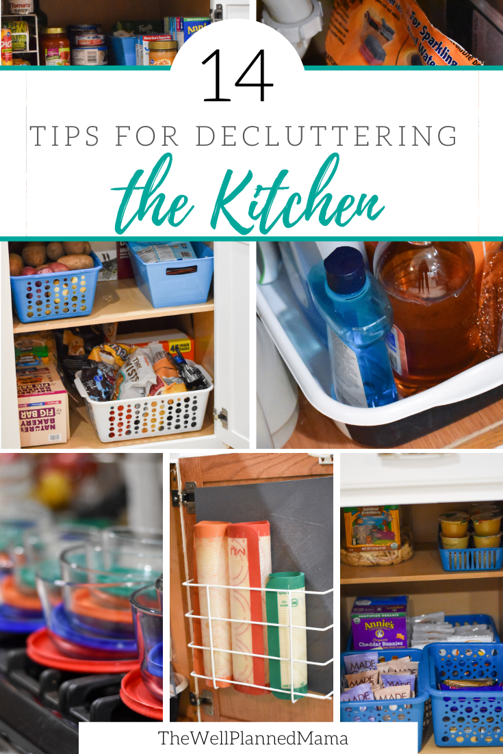 Decluttering the kitchen. A series of pictures depicting a clutter-free and organized kitchen.