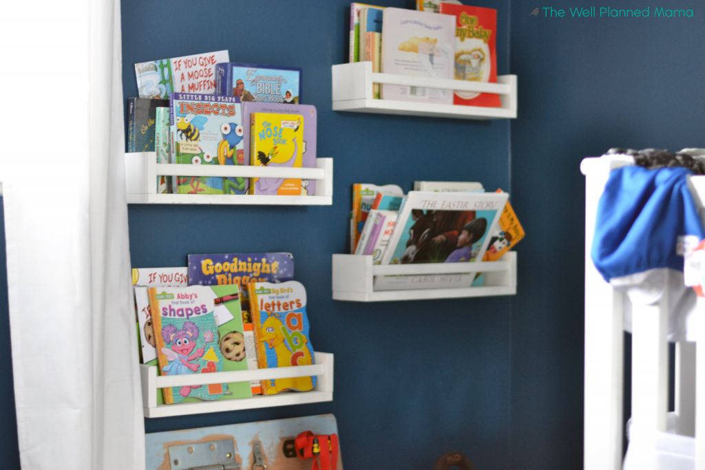 Wall hanging shelves for storing books in the nursery or for children
