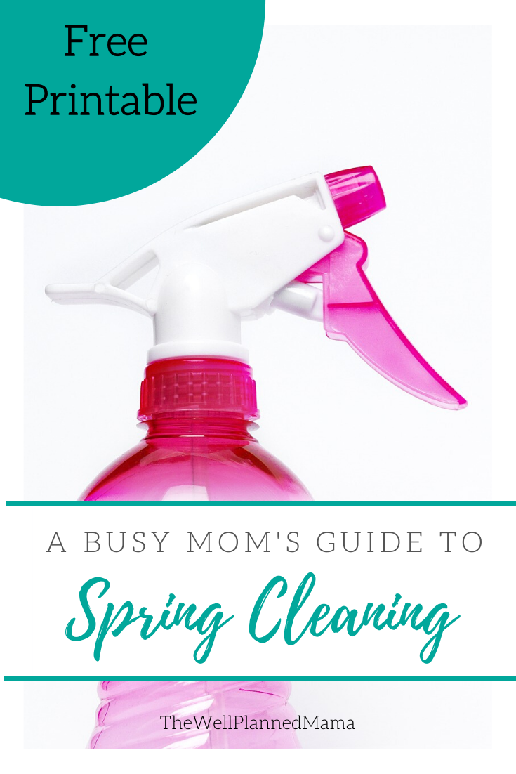 Spray bottle of cleaner for spring cleaning check list