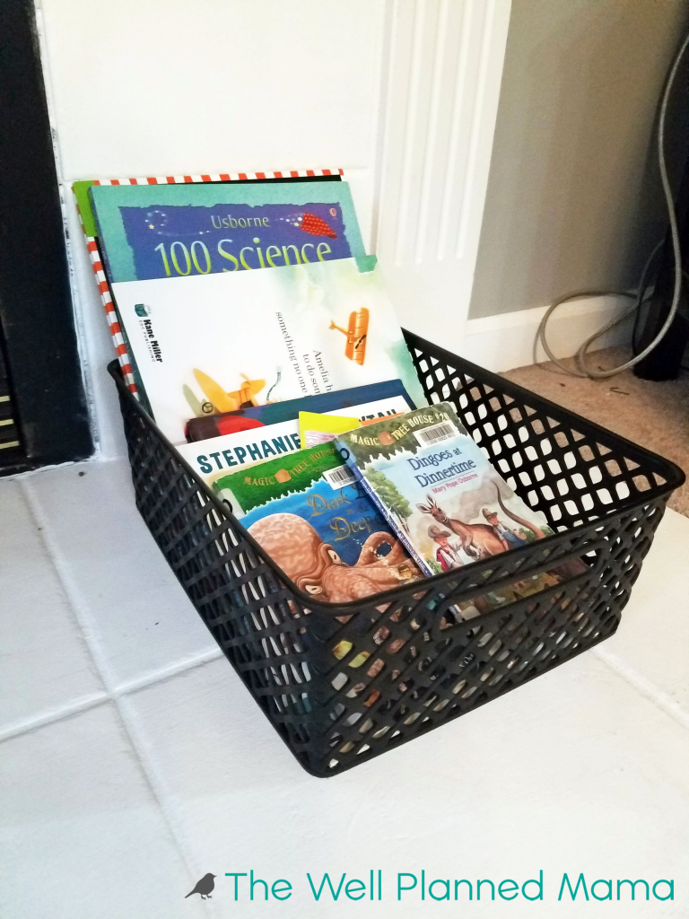 Using a book basket to store children's books