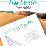 Free printable to help complete a one month declutter challenge