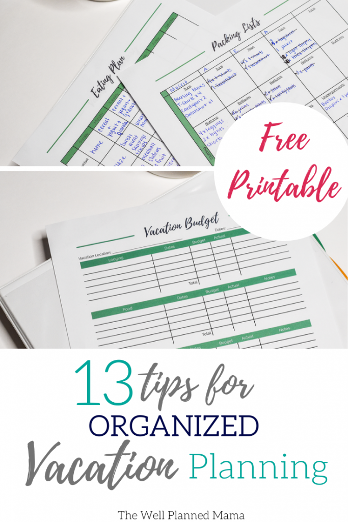 Printables for a organized vacation.