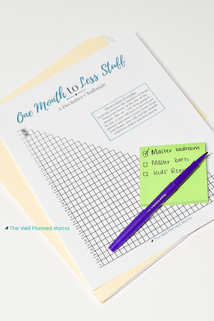 Free Printable One Month Declutter Plan