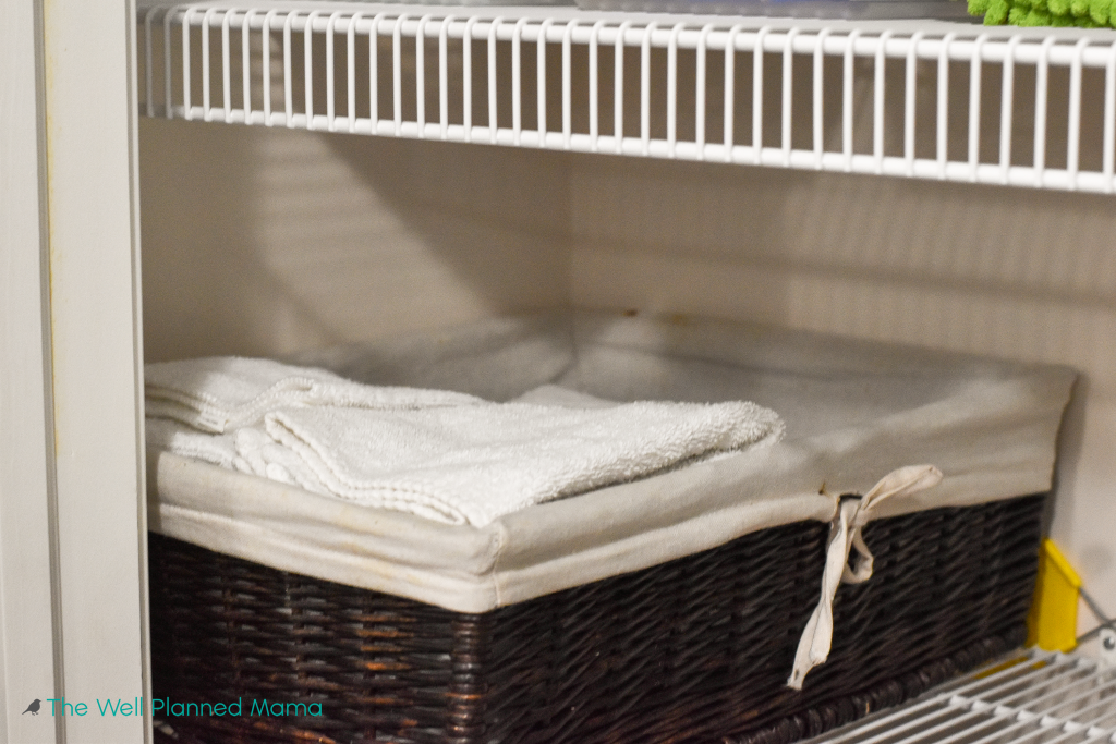 Baskets used to store hand towels and washcloths