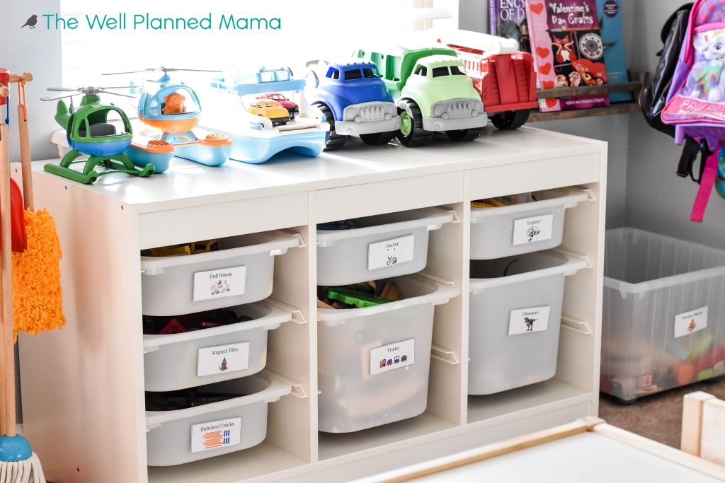 Playroom organization using toy labels.