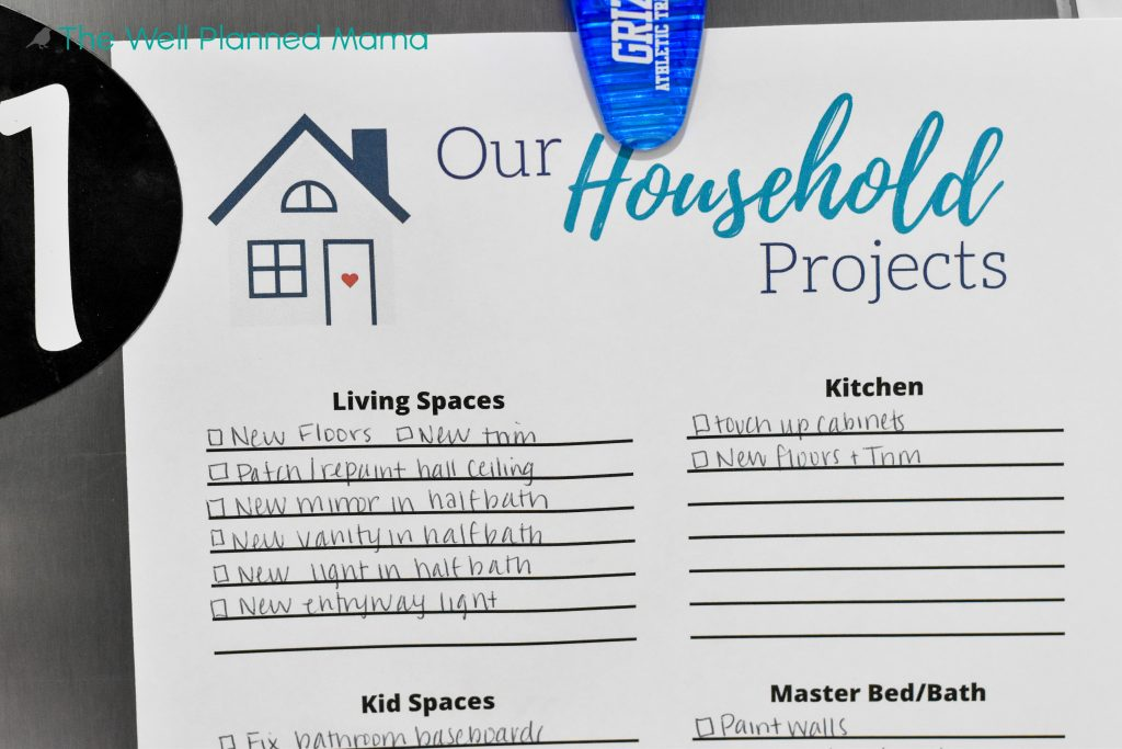 Printable for home project organization