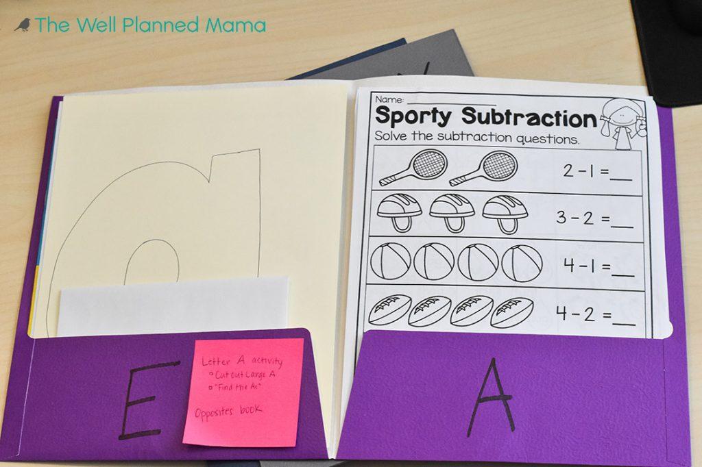 Folders for homeschooling