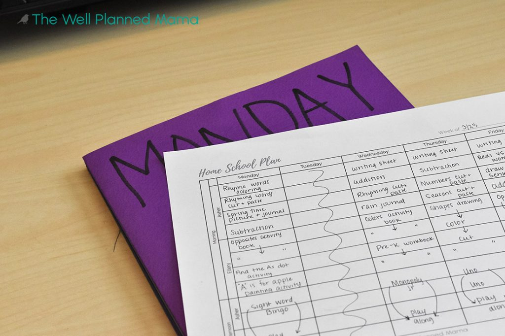 Daily schedule for school from home
