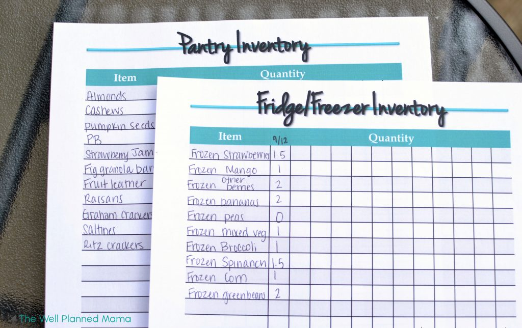 Food inventory printable for grocery shopping