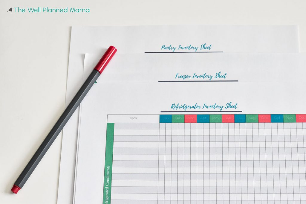 Food Inventory Sheets