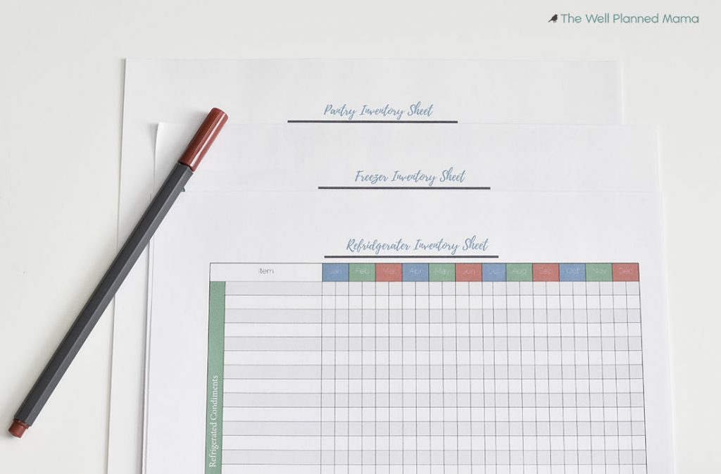 Food inventory sheets to help save time and money