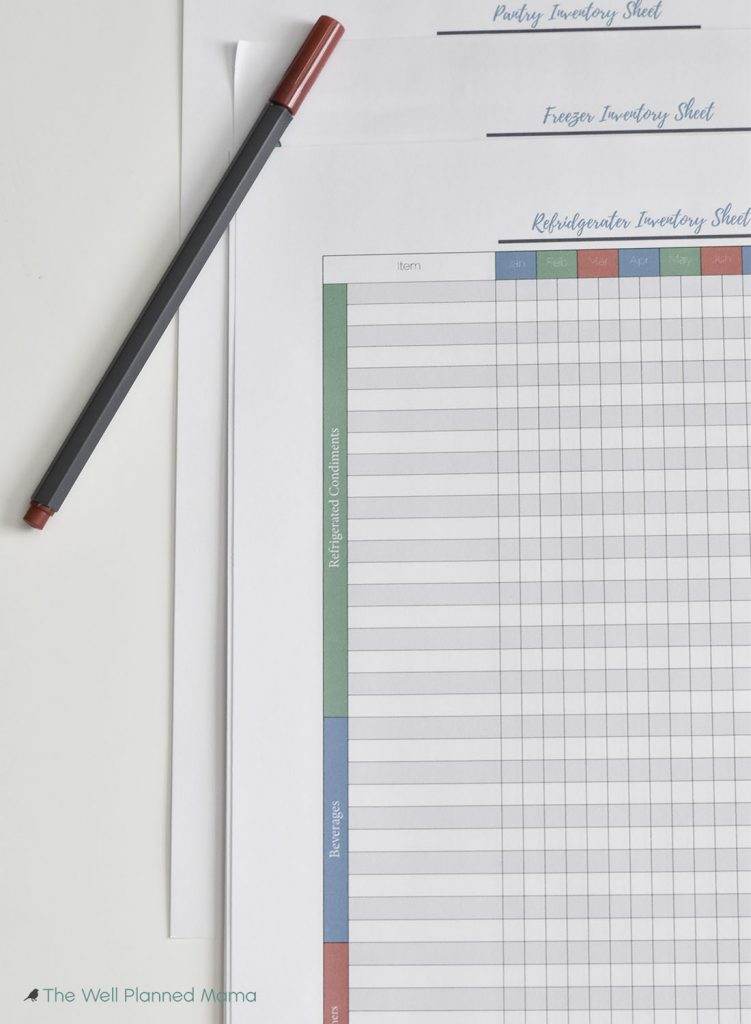 Food inventory printable to improve grocery shopping