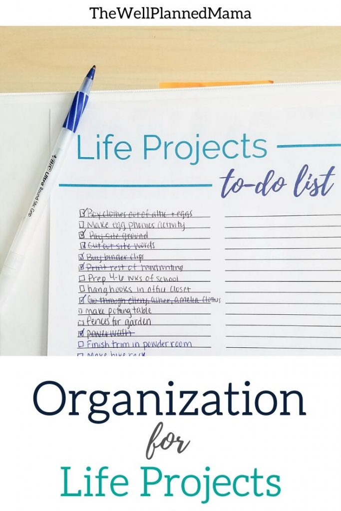 Organization for life's projects. Free life projects printable to help you organize all of the big (or little) projects.