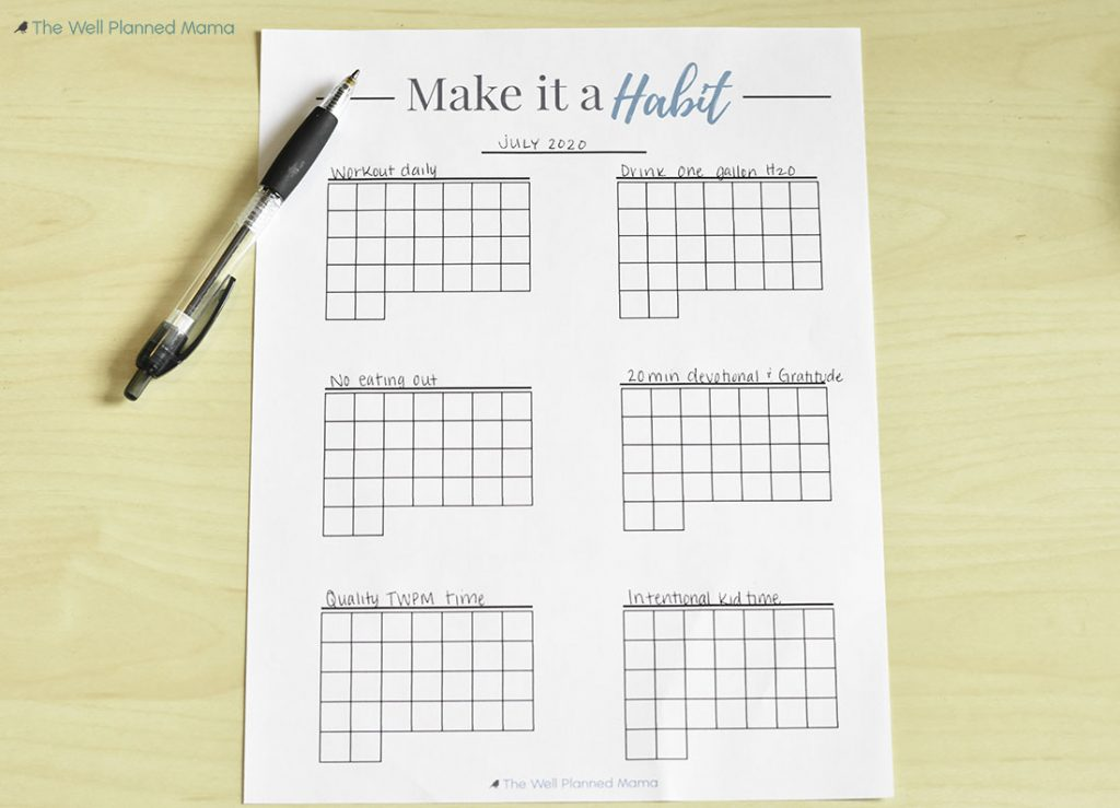 Monthly habit tracker printable to help accomplish goals and achieve new habits