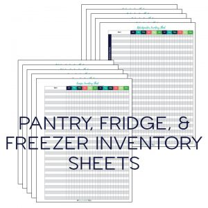Printable food inventory sheets