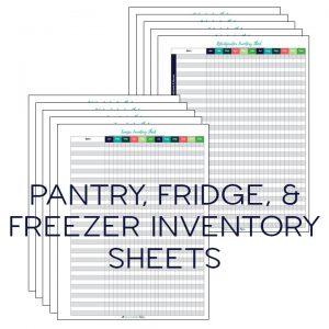 Printable food inventory sheets