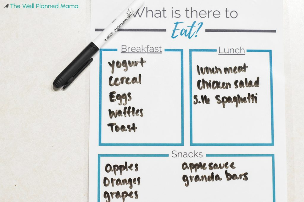 Meal planning printable to keep track of leftovers