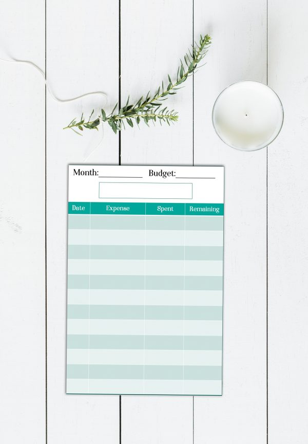 Printable expense tracking card