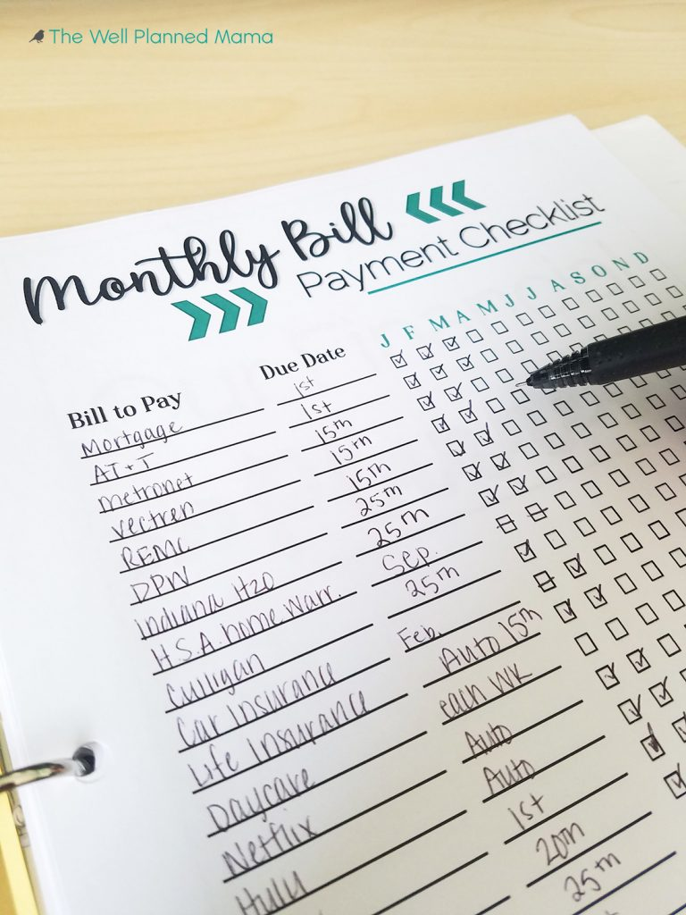 Monthly Bill Payment Tracker Printable