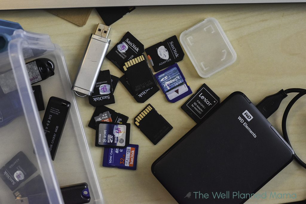 Several SD cards and an external hard drive