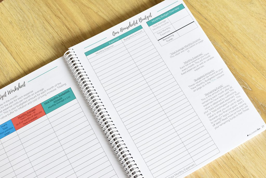 Budget planning page of the well planned budget planner