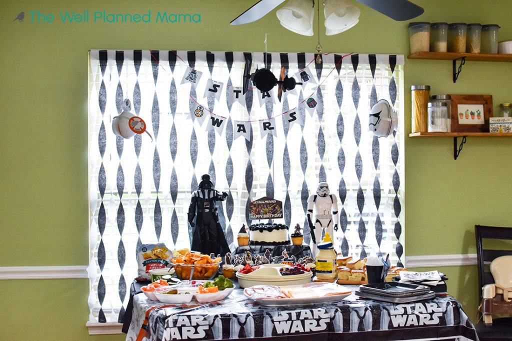 Star Wars decorated food table for a 7 year old birthday party