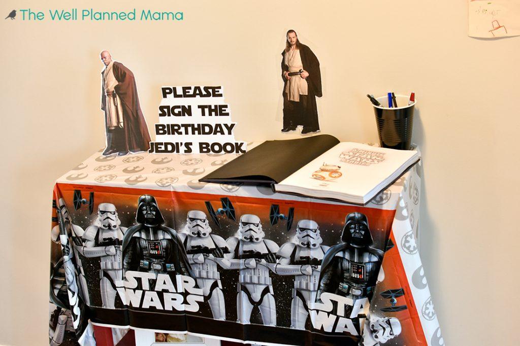 Birthday book for Star wars birthday party