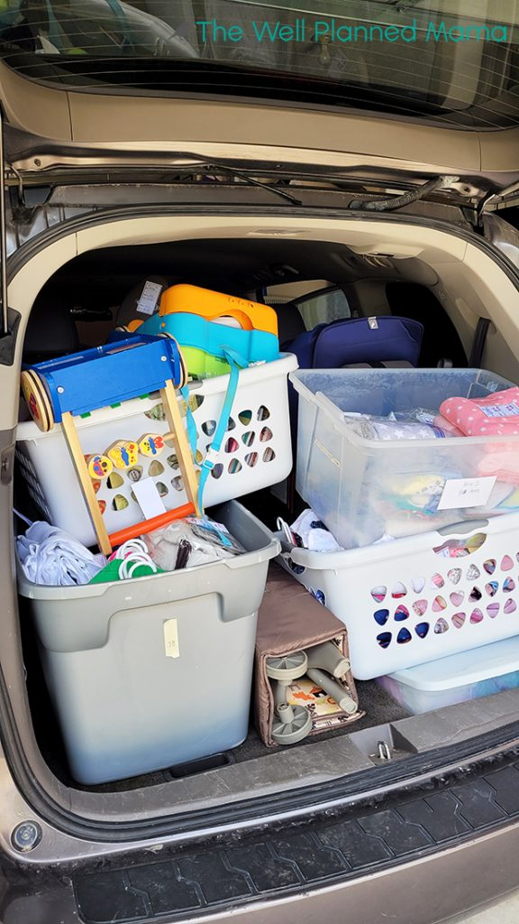 Tips for selling in a consignment sale. A van packed full of products to take to a children's consignment sale