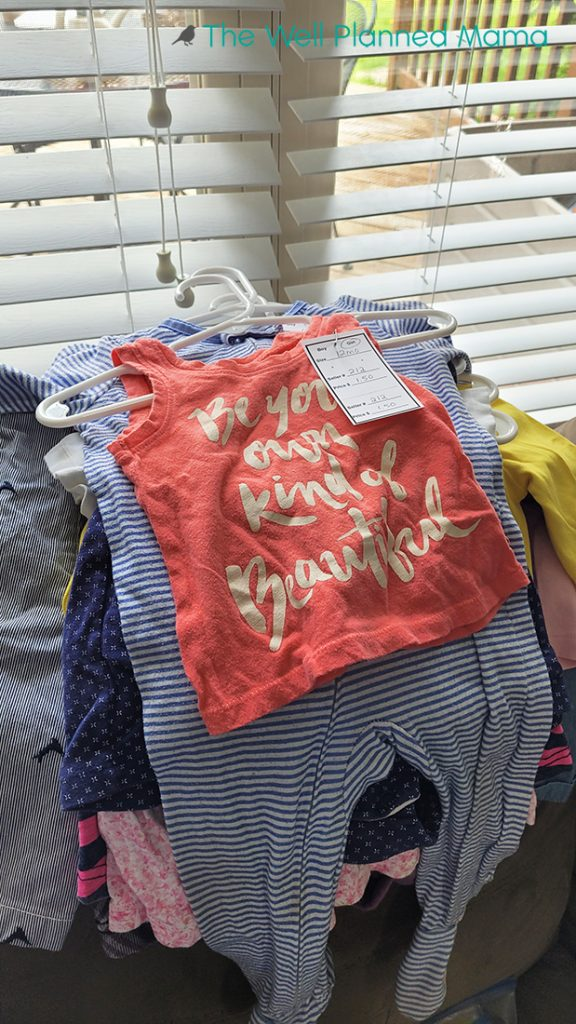 Clothing tagged for a children's consignment sale