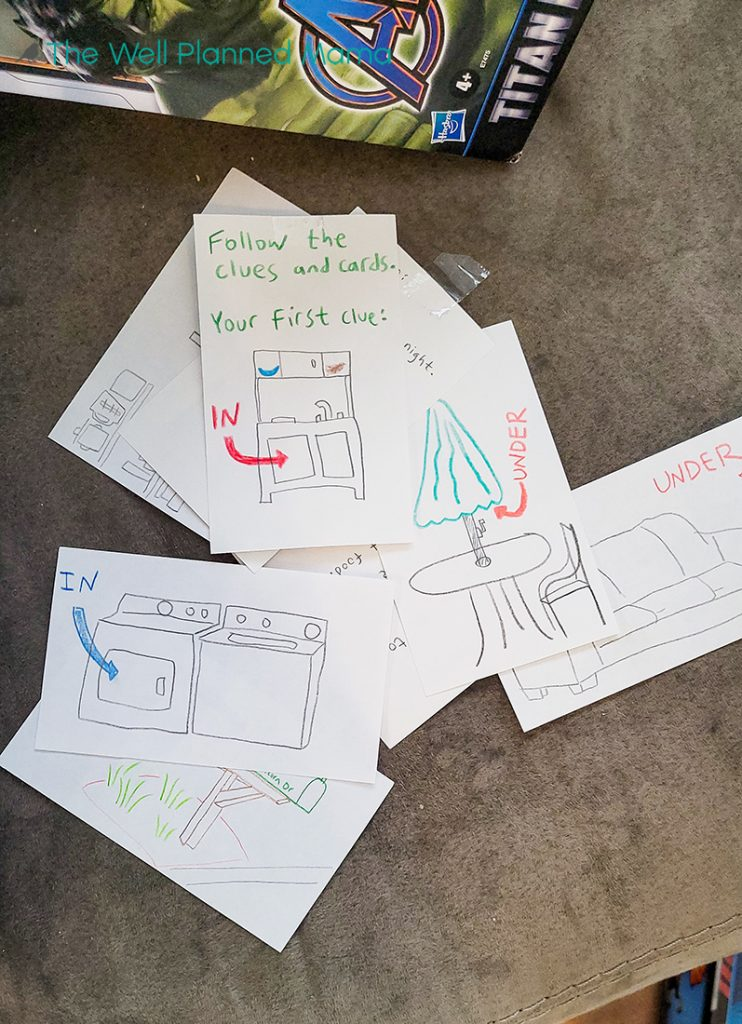 Scavenger hunt cards for birthday party