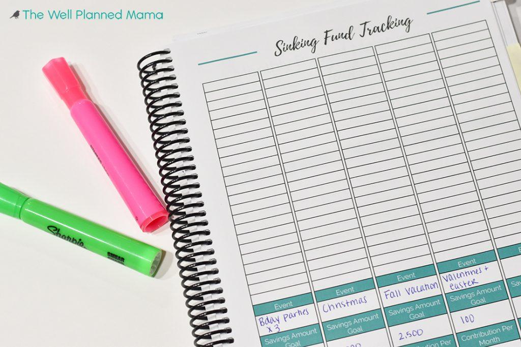 Sinking fund tracking sheet
