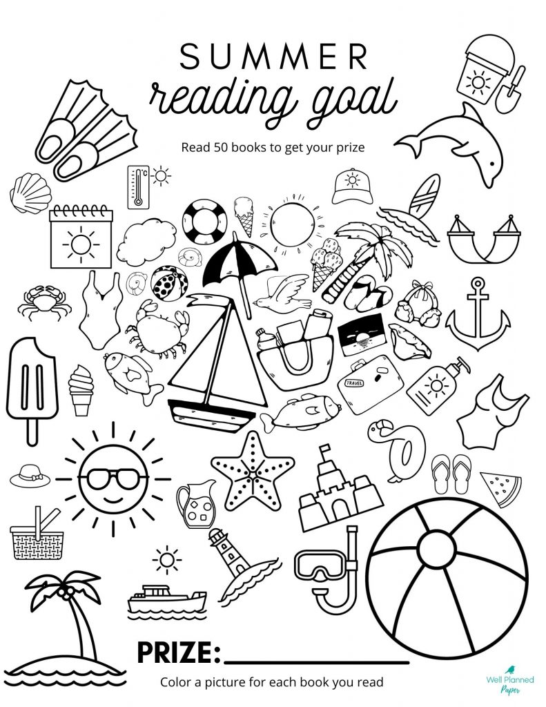 Summer themed printable for tracking books read