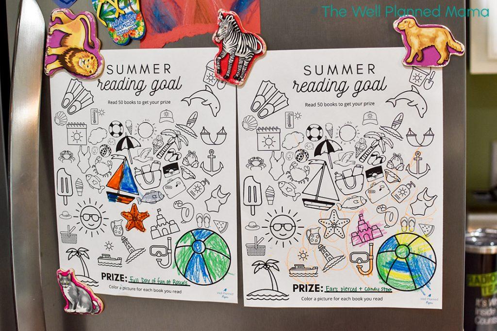 Summer reading log for kids
