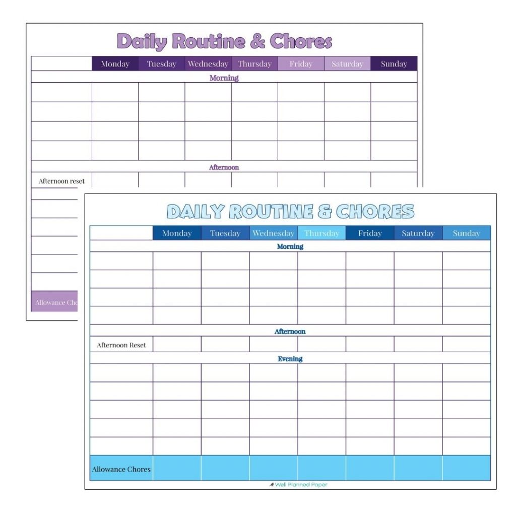Free printable daily routine chart for kids