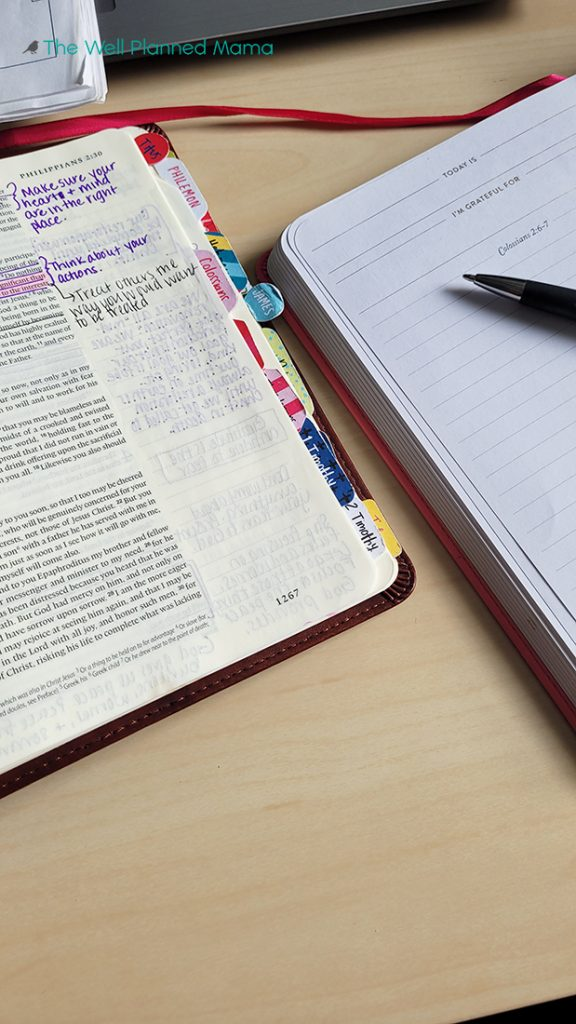 Book and Bible as part of a morning routine
